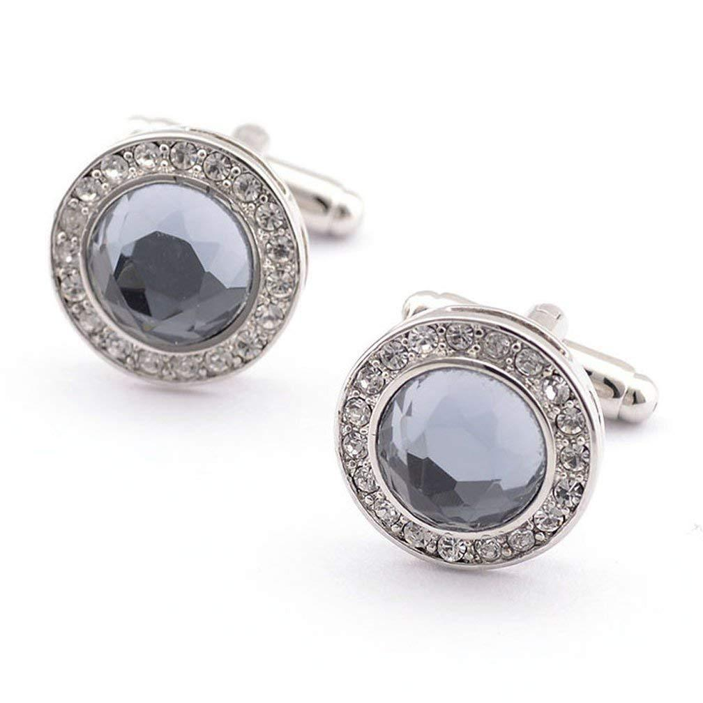 Fashion2Beauty Super Shiny Swarovski Quality Crystal Circular Cufflinks Elegant Style