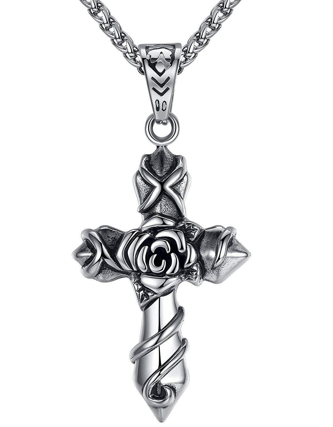"Aoiy Men's Stainless Steel Rose Cross Pendant Necklace, 24"" Link Chain, aap099"