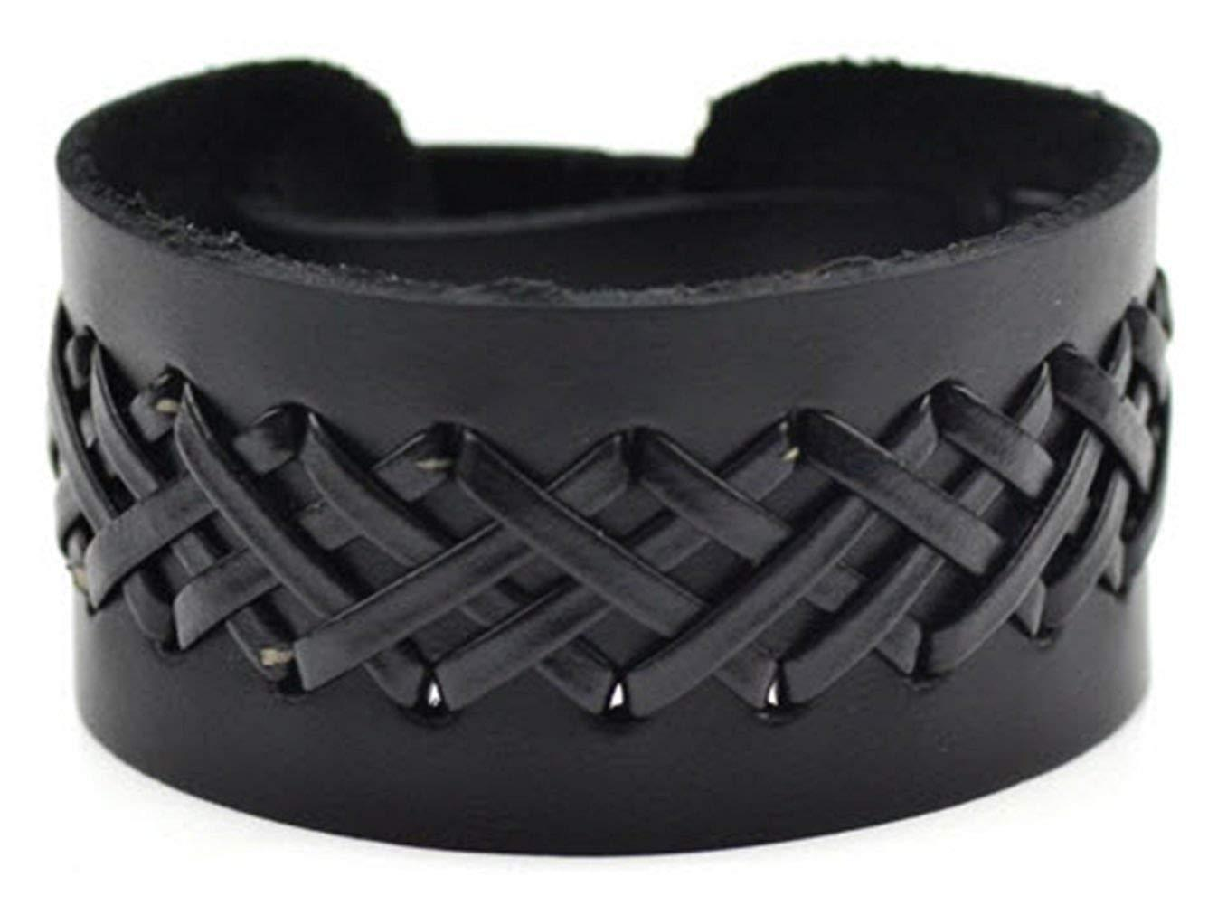Handmade Vintage Braided Genuine Leather Bracelets Brown & Black Punk Wide Cuff @ Sons of Odin™ -