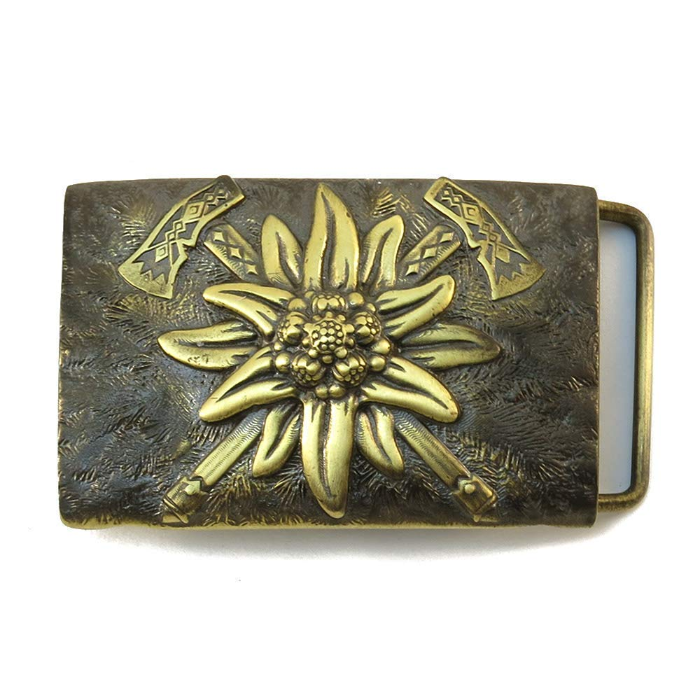 Edelweiss belt buckle, Handmade military Mountainous Infantry solid brass belt buckle with axes and mountain flower
