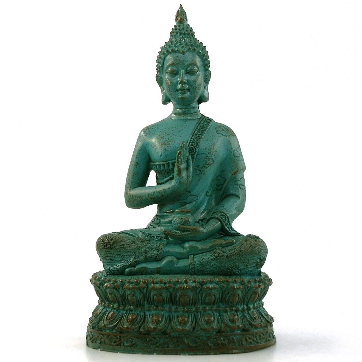 Ornerx Thai Sitting Buddha Statue for Home Decor Ivory 6.7 @ Sons of Odin™ - Men's Jewelry on Sale,