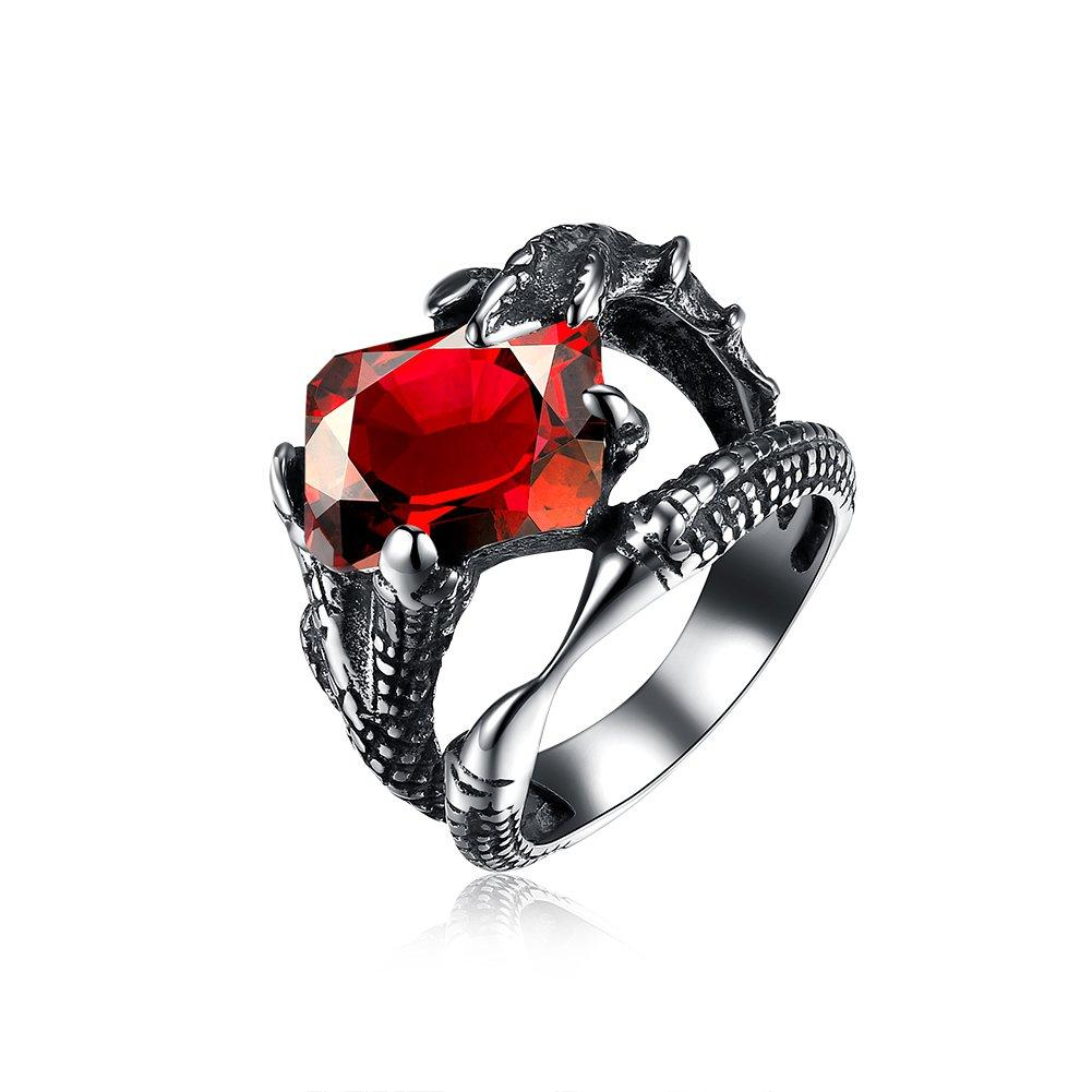 IVYRISE Wolf Dragon Claw Red Gemstone Hollow Mens Womens Gift Ring, 316L Stainless Steel