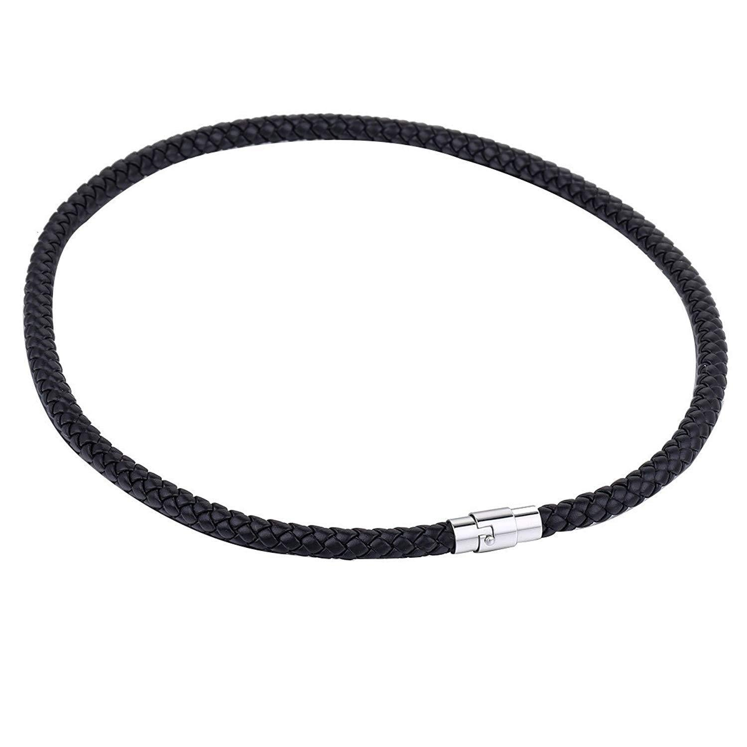 Trendsmax 6mm Black Braided Cord Rope Man-Made Leather Necklace Bracelet Stainless Steel Clasp One Piece
