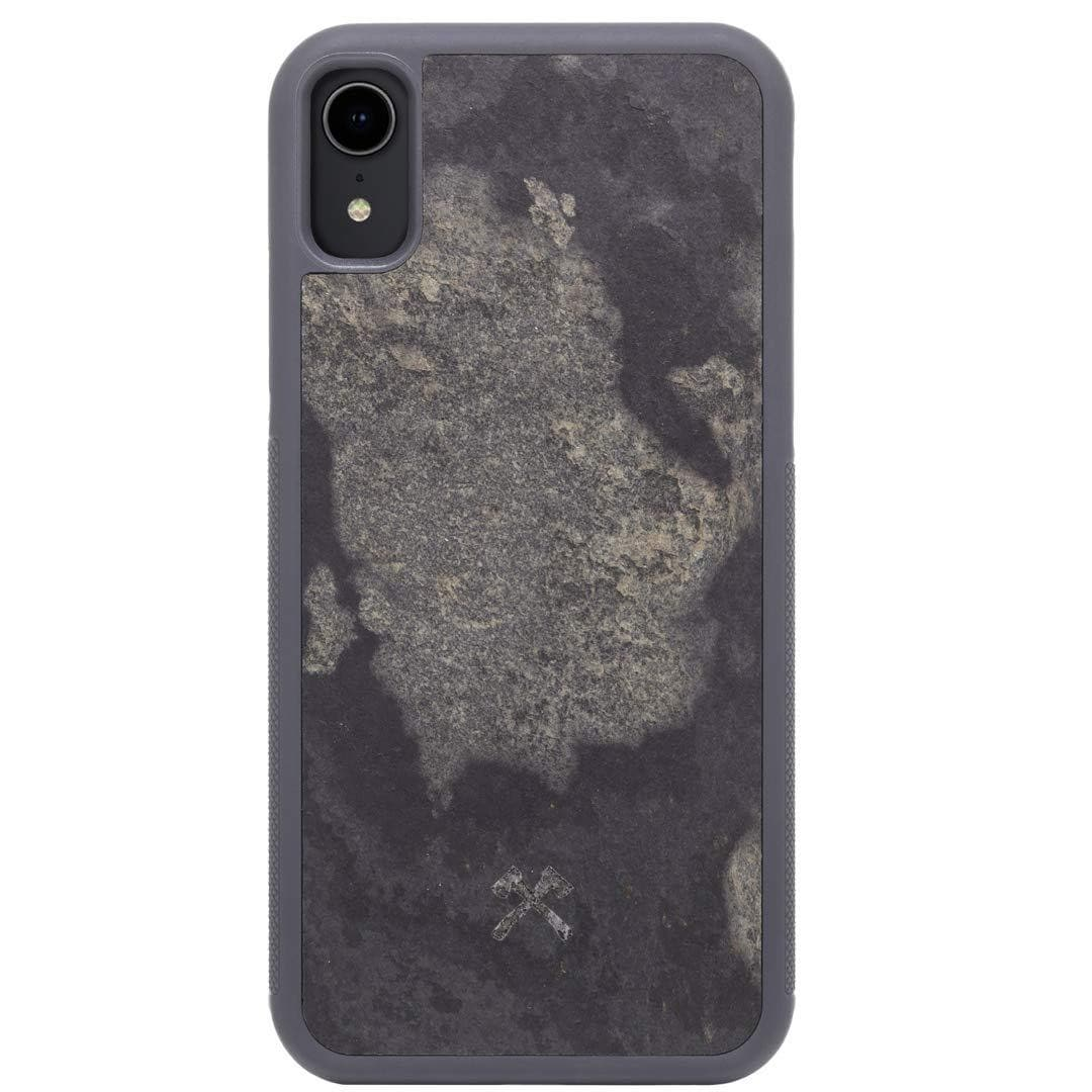 Woodcessories - Real Stone Case Compatible with iPhone Xr, EcoBump Stone (Camo Grey)