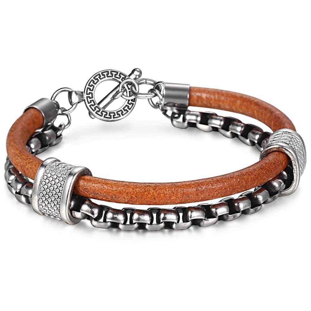 Trendsmax Double Layers Genuine Leather Bracelet for Mens Boys Stainless Steel Bracelet Wristband 8.66inch
