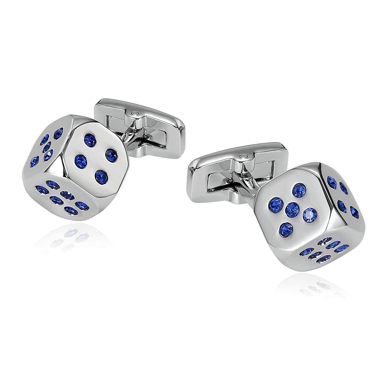 Mens Cufflinks Stainless Steel Lucky Dice Crystal Silver Blue Shirt 1.3X1.3CM Xmas Gift Box Aooaz