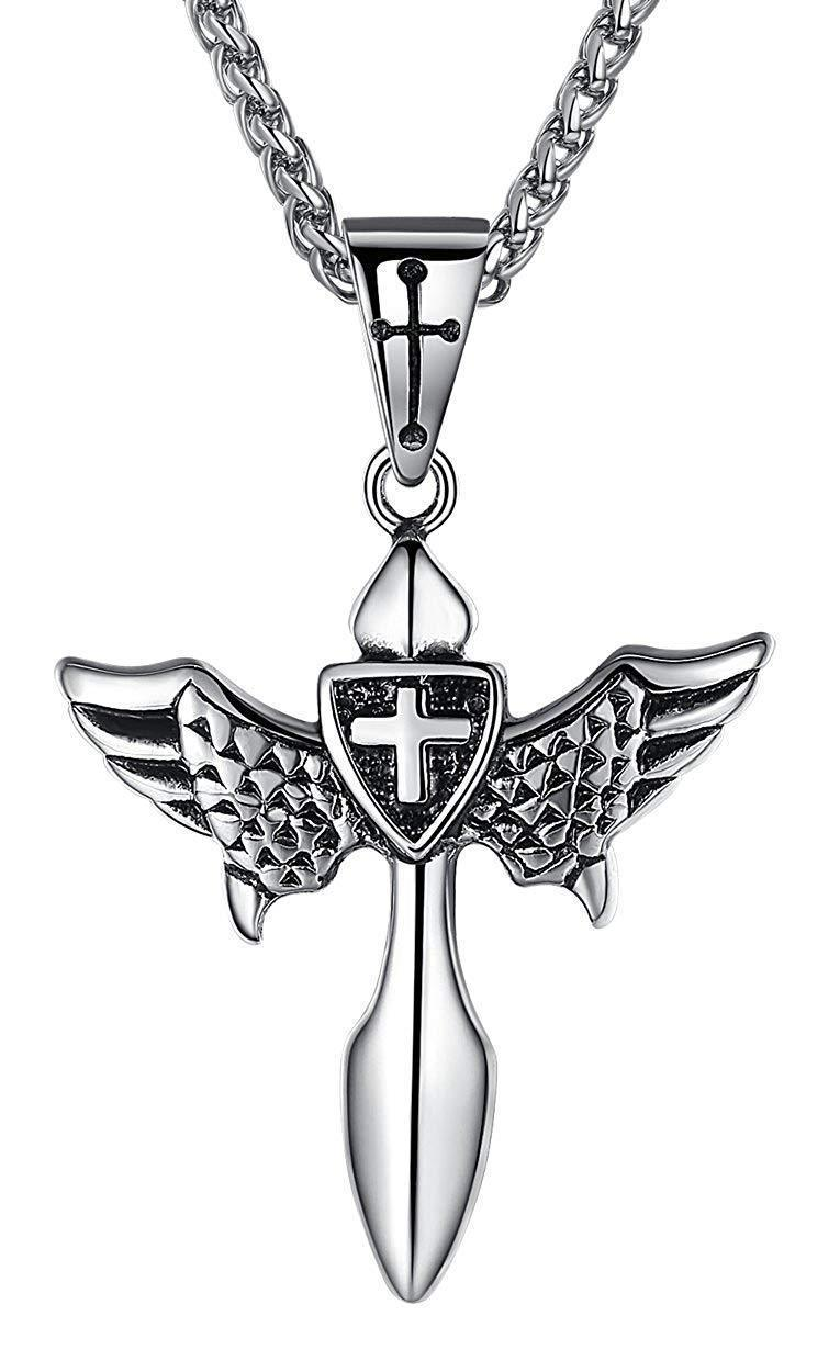 "Aoiy Men's Stainless Steel Wing Cross Pendant Necklace, 24"" Link Chain, aap019"