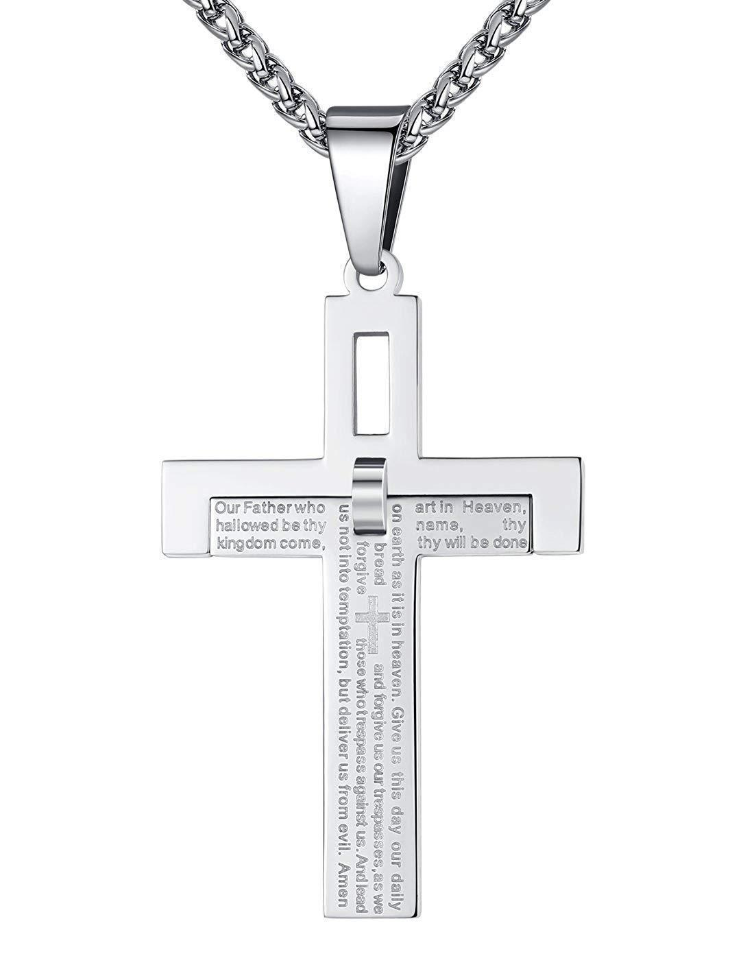 "Aoiy Men's Stainless Steel Lord's Prayer Cross Pendant Necklace, 24"" Wheat Link Chain, ggp123yi"