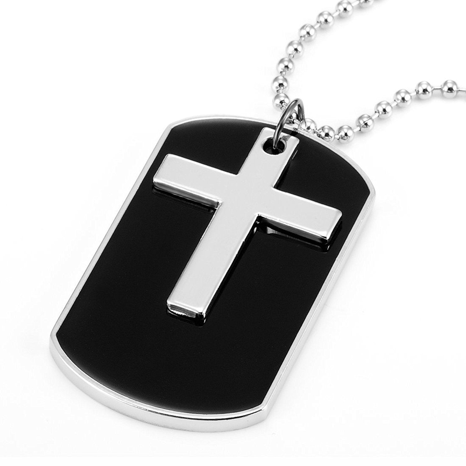 "Army Cross Dog Tag Pendant Necklace 30"" Adjustable Chain - Black & Silver"