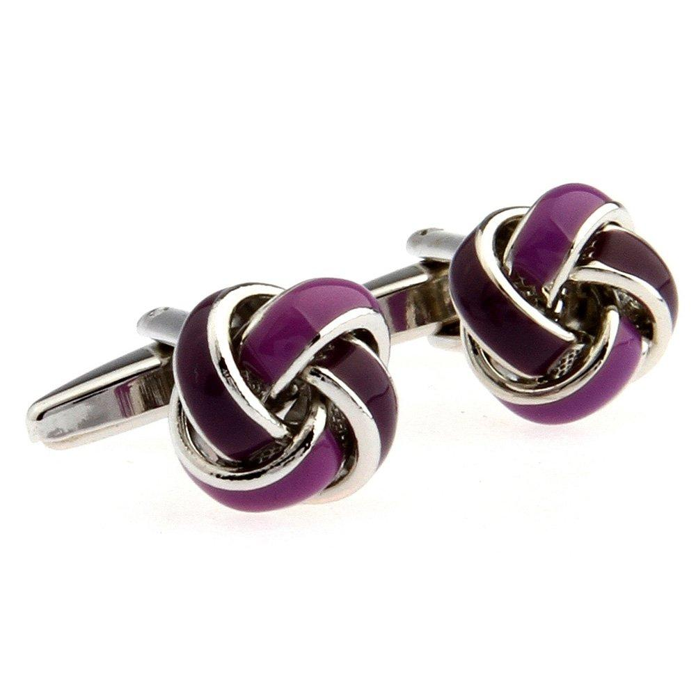 Utoy Simple Ball Knot Shape Men's Spherical Copper Cufflinks Purple One Pair