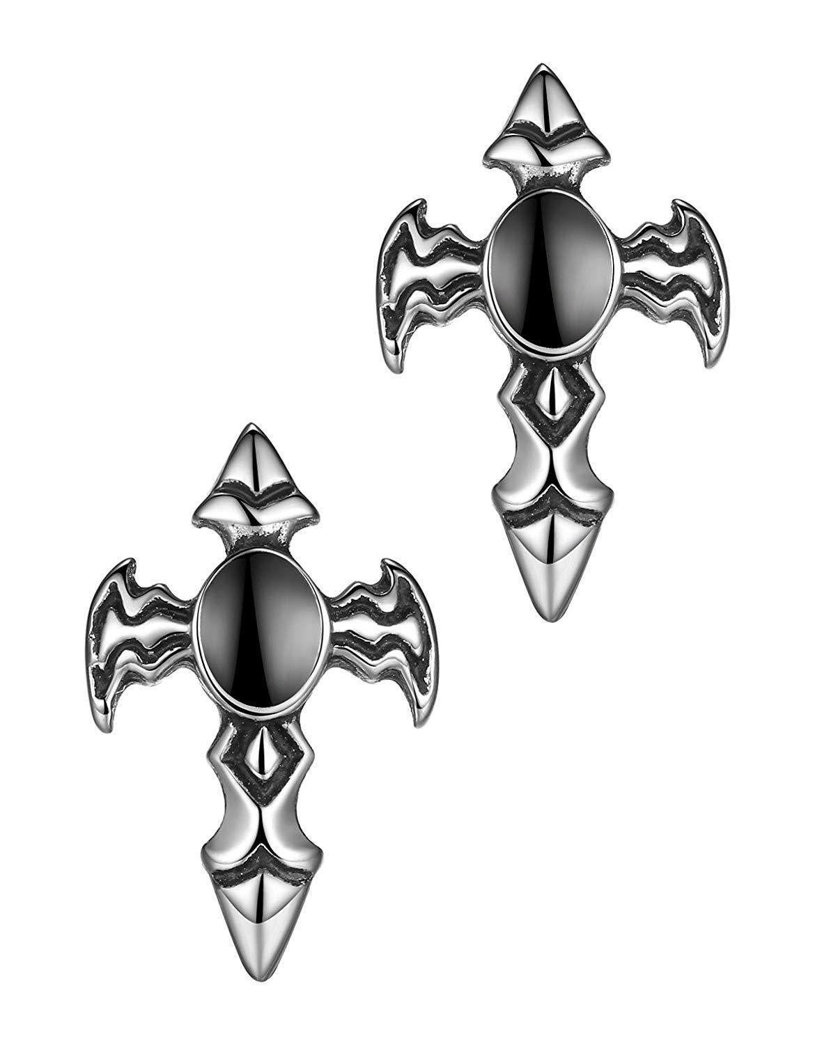 Men's Stainless Steel Fleur-de-lis Wing Cross Stud Earrings Aae018he @ Sons of Odin™ - Jewelry on
