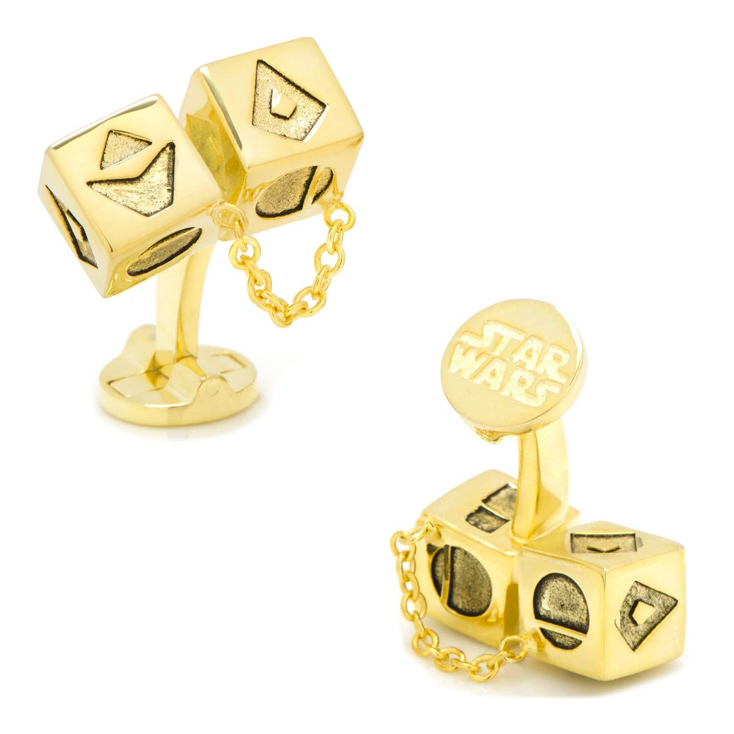 Star Wars Solo Gold Dice 3D Cufflinks, Officially Licensed