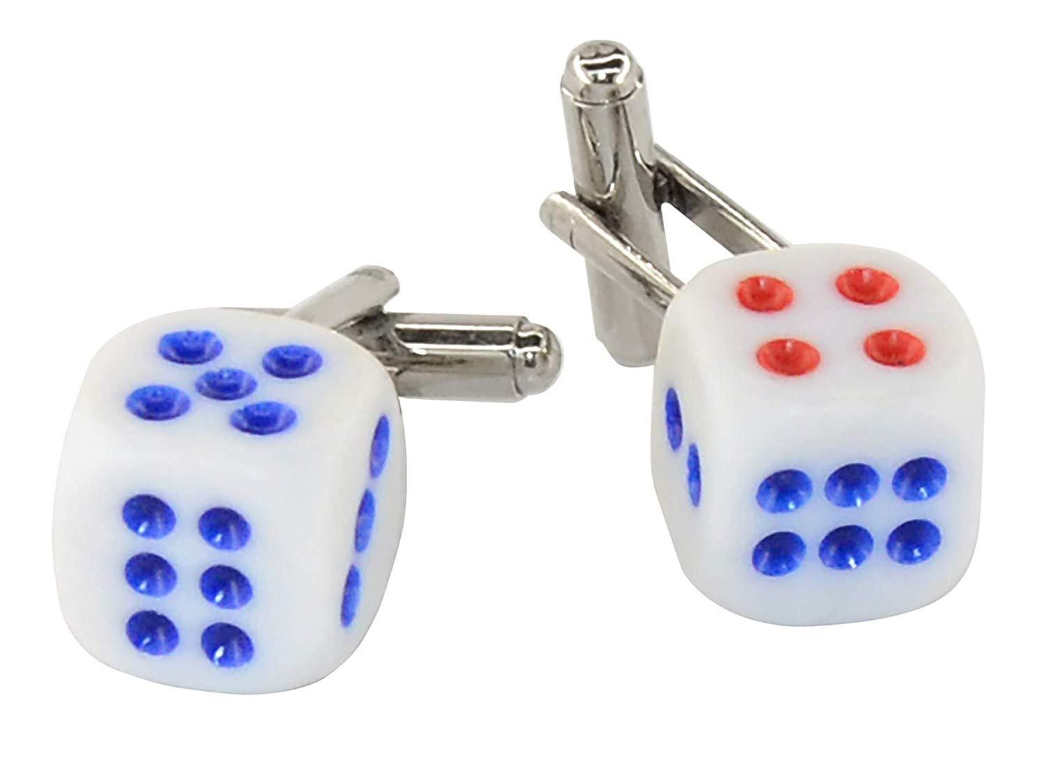 Krisar Silver-Tone Men's Cuff Links Blue & RED DICE Shaped Cufflinks
