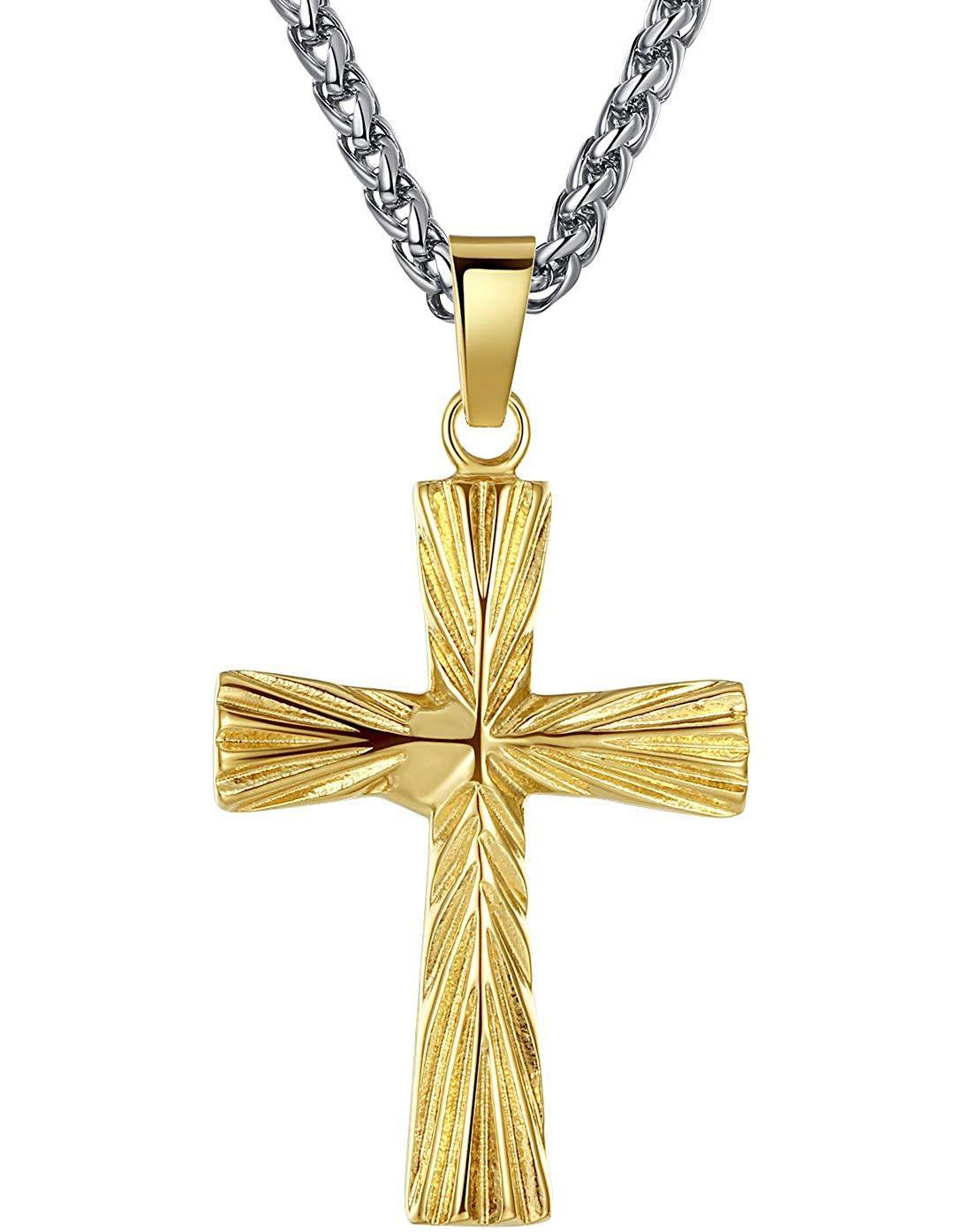 "Aoiy Men's Stainless Steel Cross Religious Pendant Necklace, 24"" Link Chain, jjp012ji"