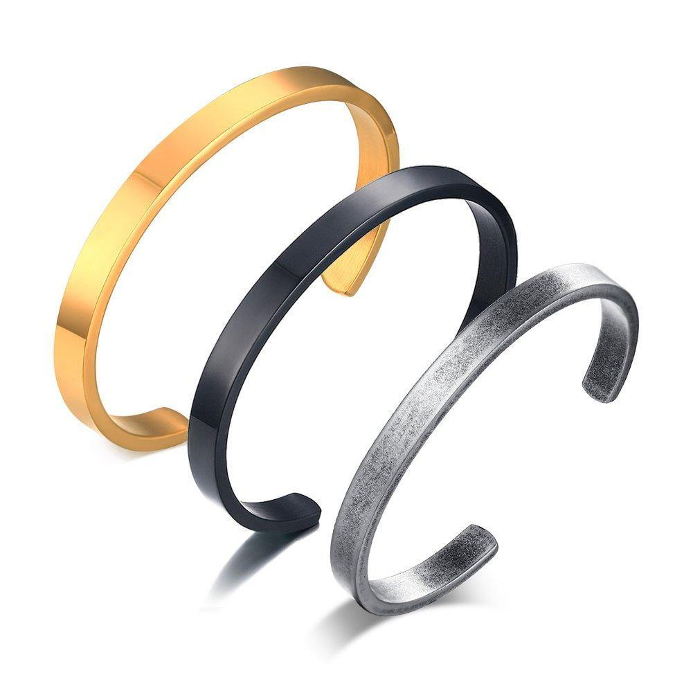(3 Piece Set) Stainless Steel Cuff Bangle Bracelets -Gold Black Pewter @ Sons of Odin™ -Men's