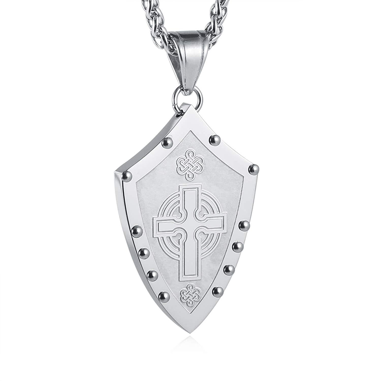HZMAN Men's Warriors Medieval Shield Celtic Knot Irish Cross Stainless Steel Pendant Necklace