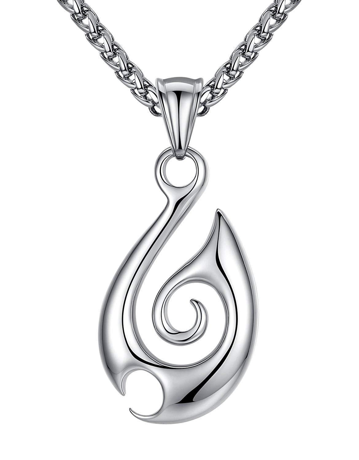 "Aoiy Stainless Steel Tribal Fire Pendant Necklace, Unisex, 24"" Link Chain, aap129"
