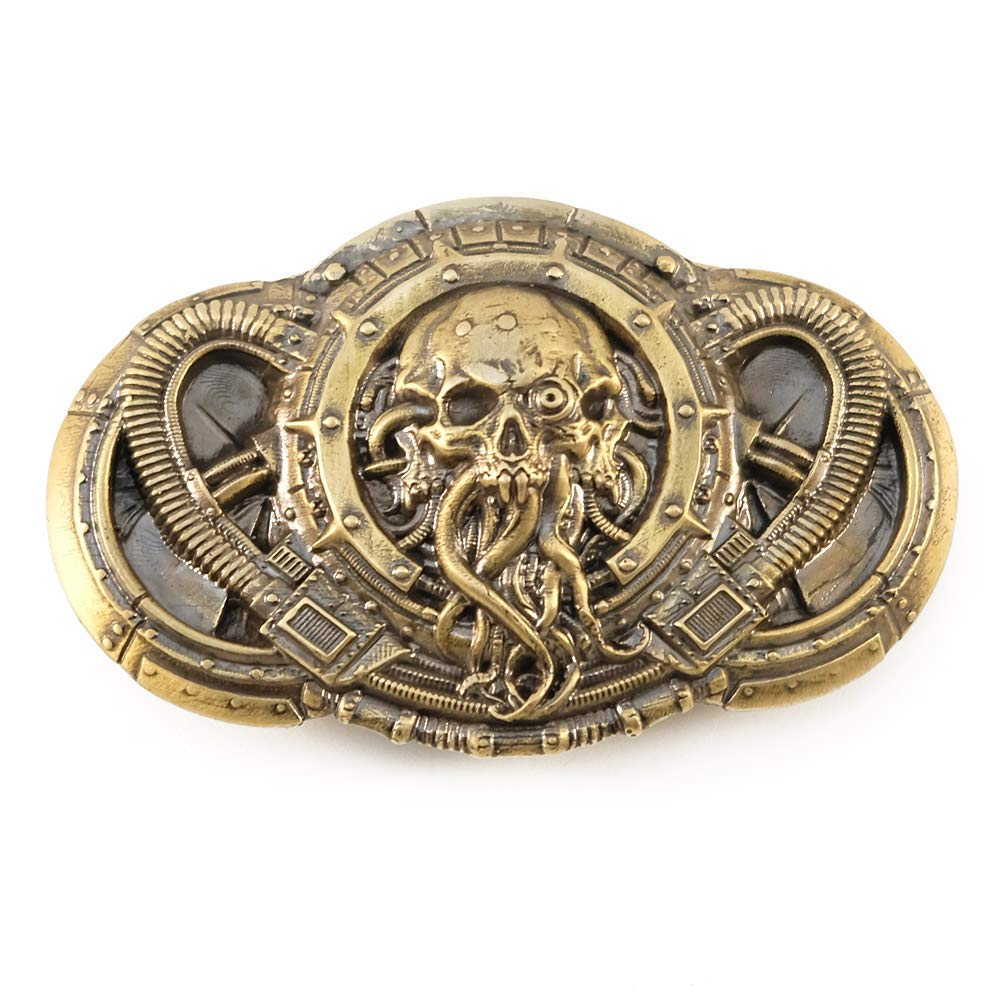 Alien belt buckle, Handmade steampunk UFO solid brass belt buckle
