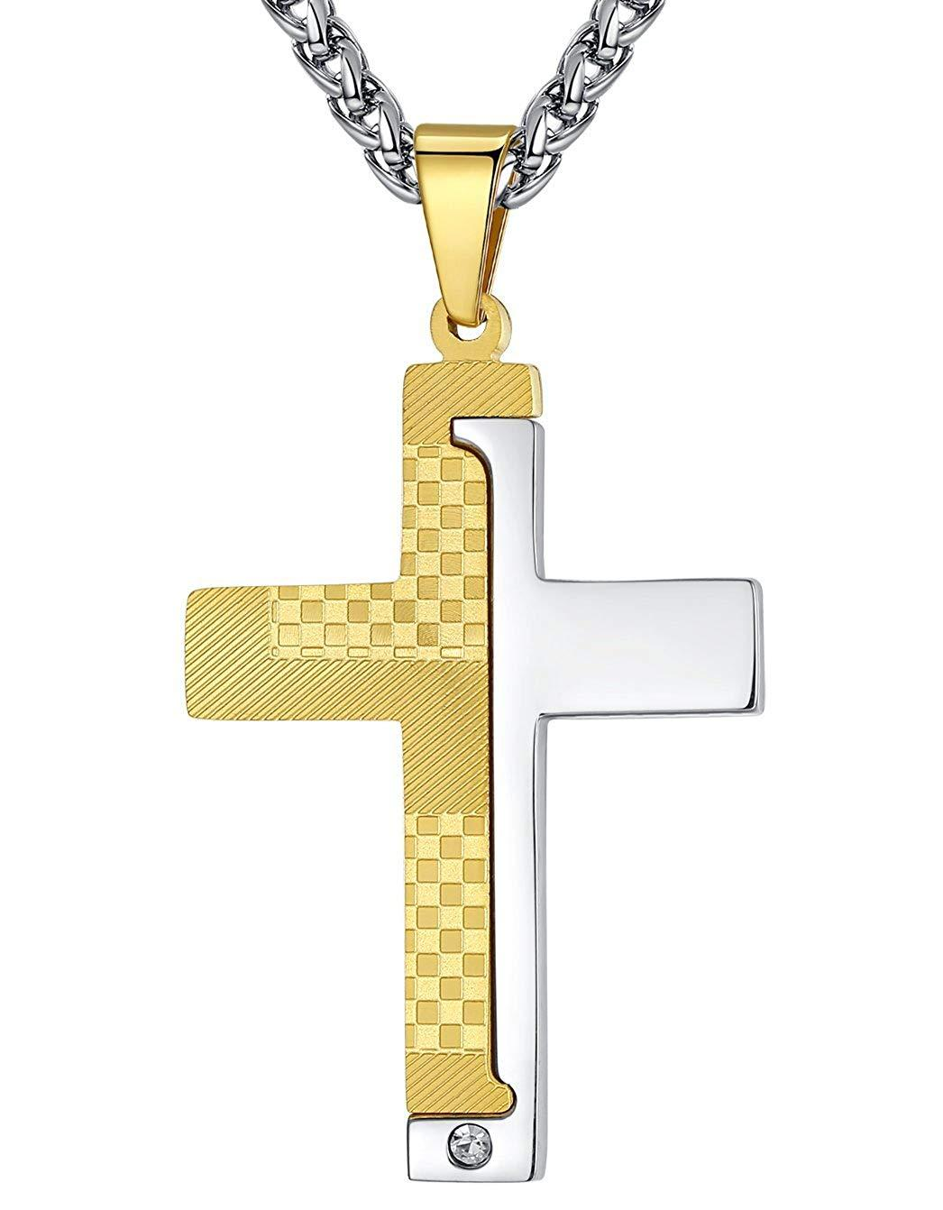 "Aoiy Men's Stainless Steel 2-Tone Cross Pendant Necklace, 24"" Wheat Link Chain, ggp146ji"