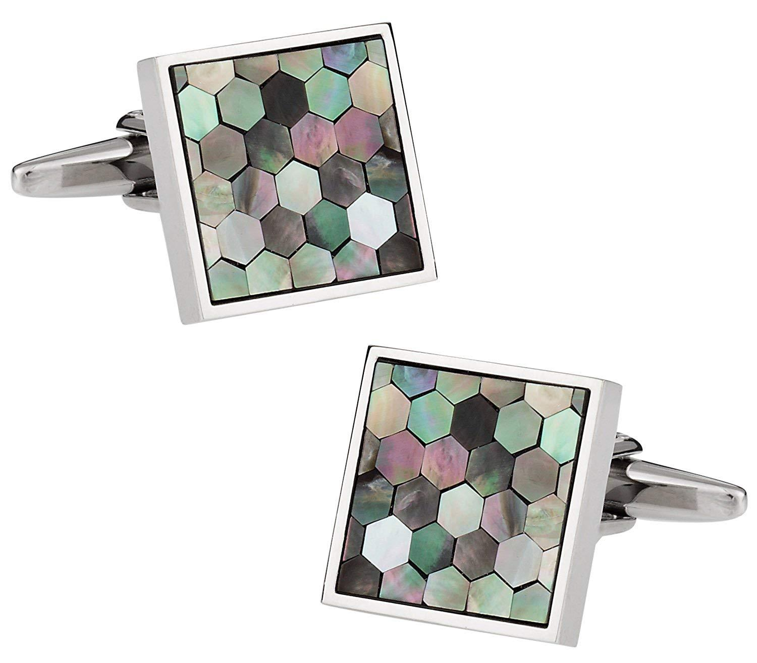 Cuff-Daddy Smokey Mother of Pearl Honeycomb Cufflinks with Presentation Box