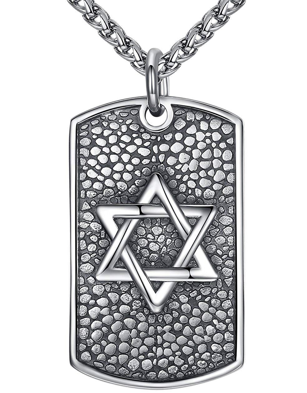 "Aoiy Men's Stainless Steel Star of David Dog Tag Biker Extra Large Heavy Pendant Necklace, 24"" Link Chain, hhp011"