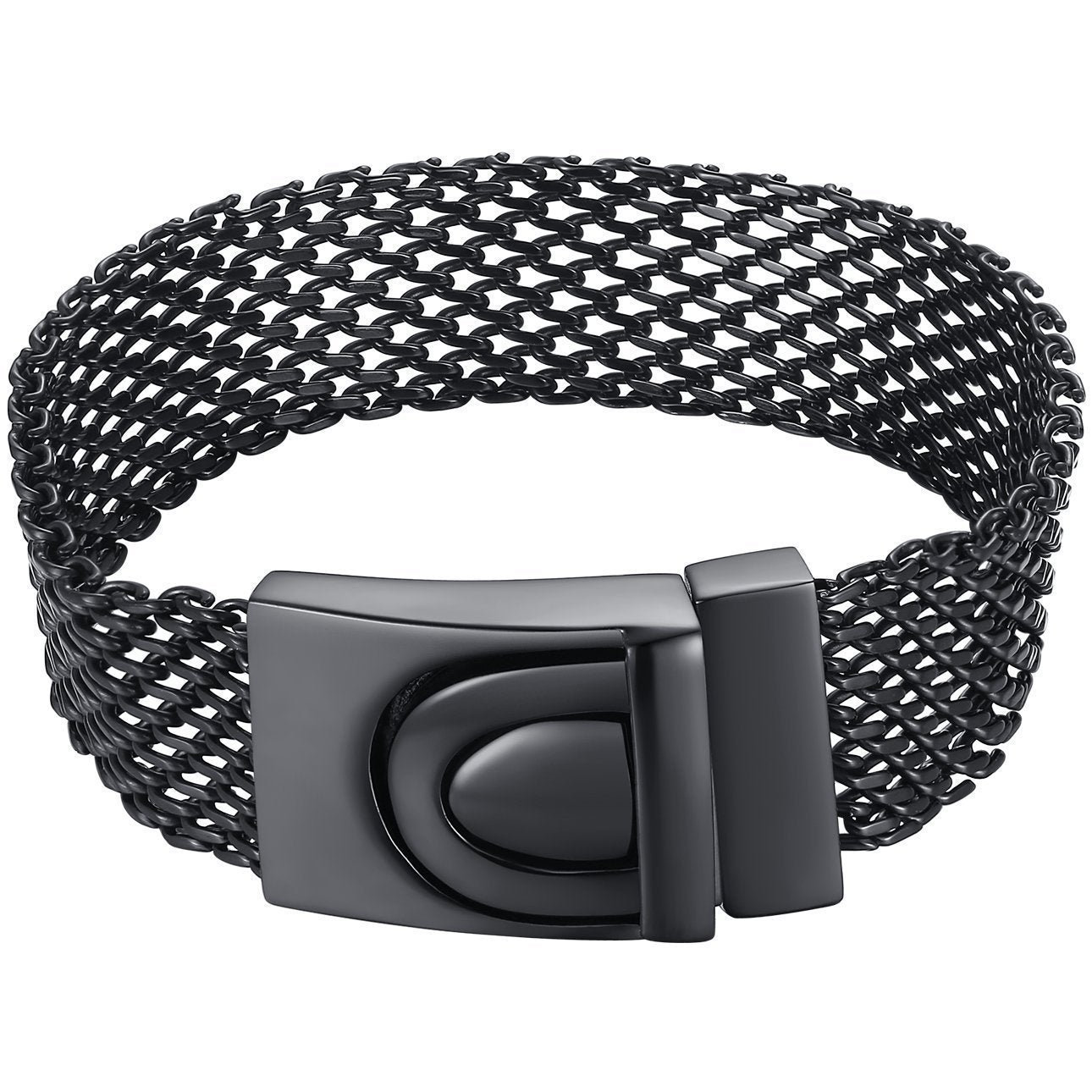 Aoiy Men's Stainless Steel Mesh Chain Belt Style Bracelet (Black-Color)
