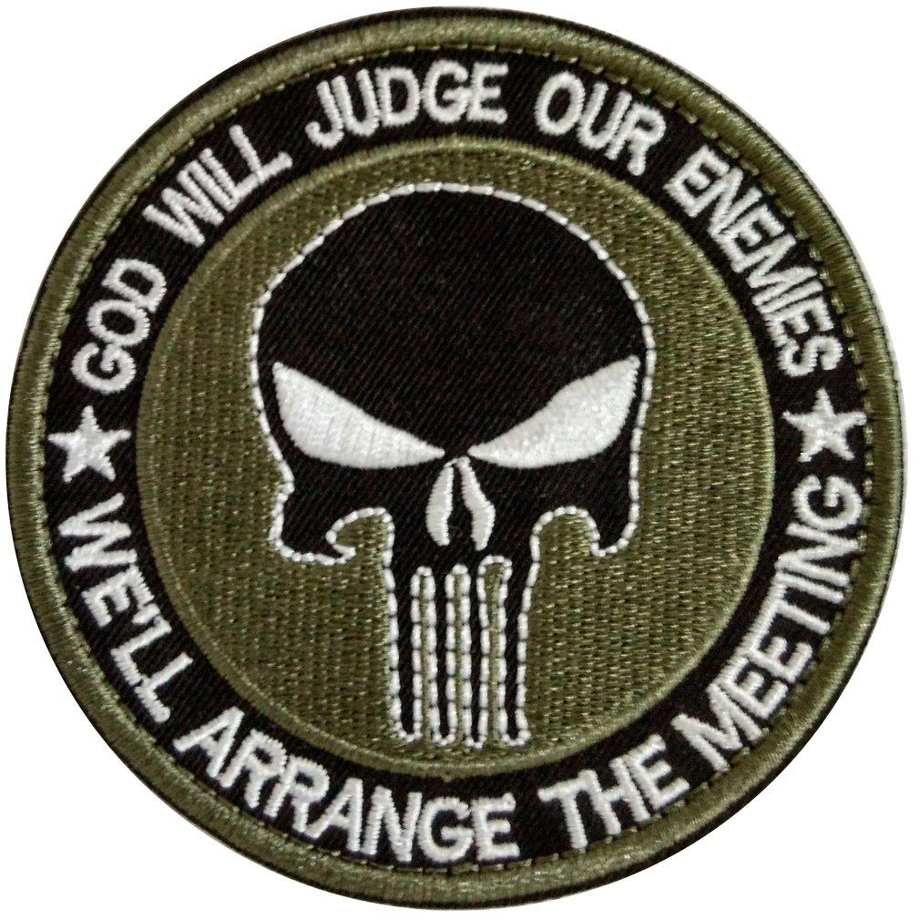 """God Will Judge Our Enemies. We'll Arrange the Meeting"" Punisher Skull Biker Tactical Patch - SonsofOdin Co Goth Viking Biker Jewellry"