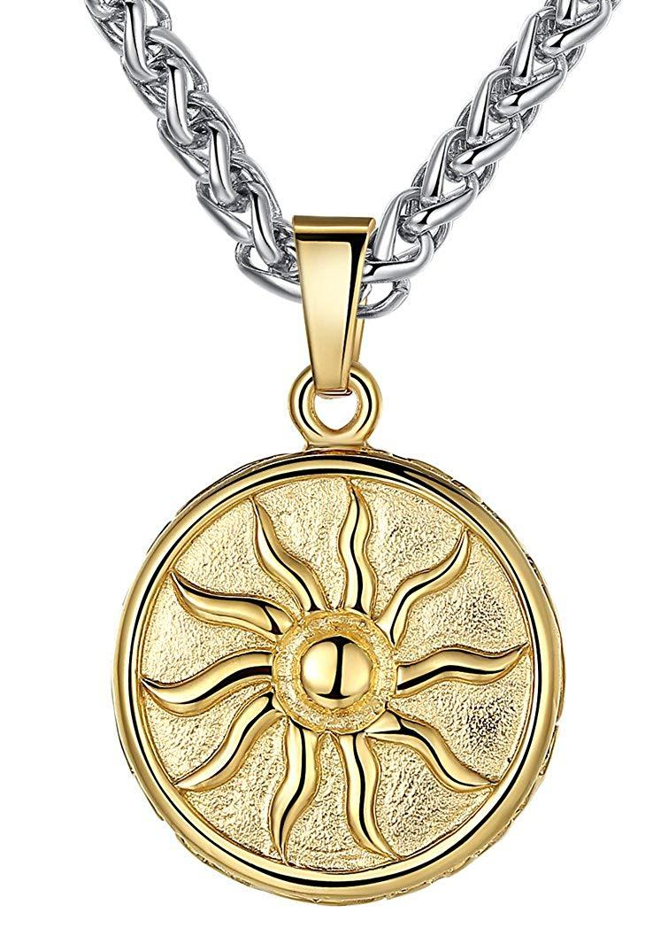 Aoiy Men's Stainless Steel Wind fire Wheel Medallion Pendant Necklace 24 Chain @ Sons of Odin™ -
