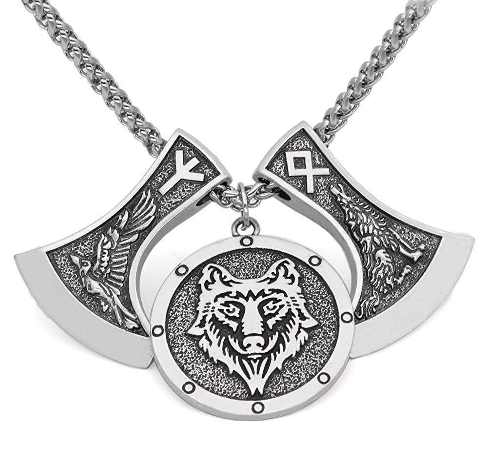 Odin's Wolves & Raven Rune Nordic Viking Axe Pendant Necklace - Silver or Gold - SonsofOdin Viking Biker Jewellry