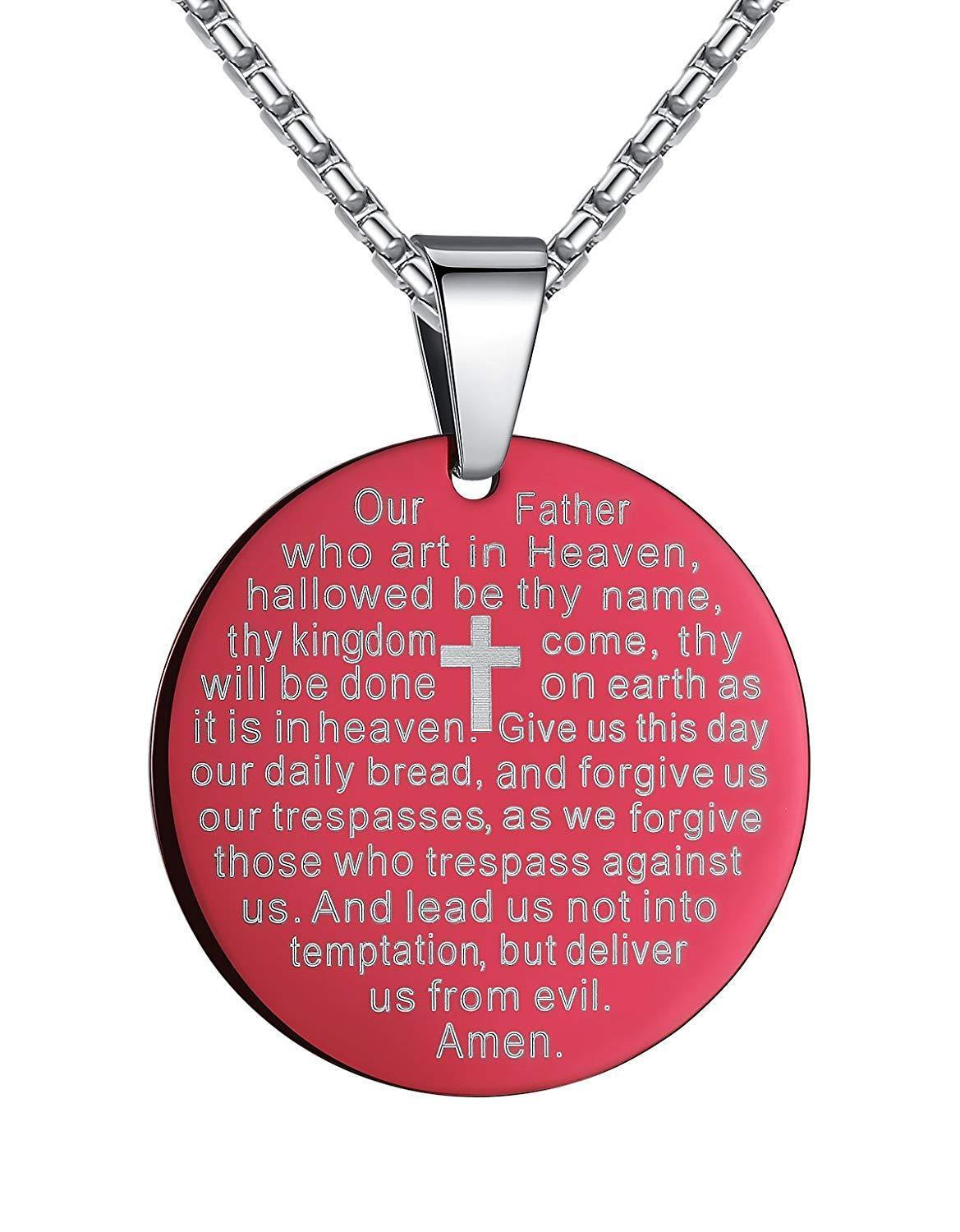 Aoiy Stainless Steel Lord's Prayer and Cross Medallion Pendant Necklace Unisex @ Sons of Odin™ -
