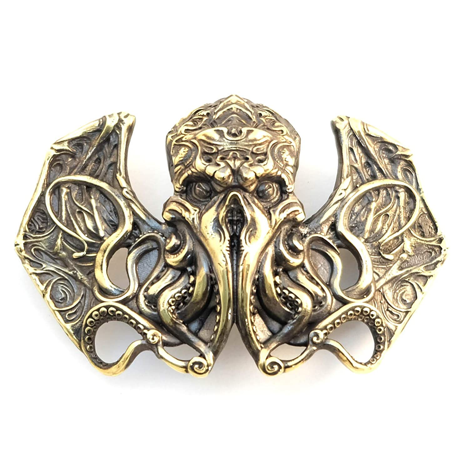 Cthulhu belt buckle, Handmade Davy Jones solid brass belt buckle