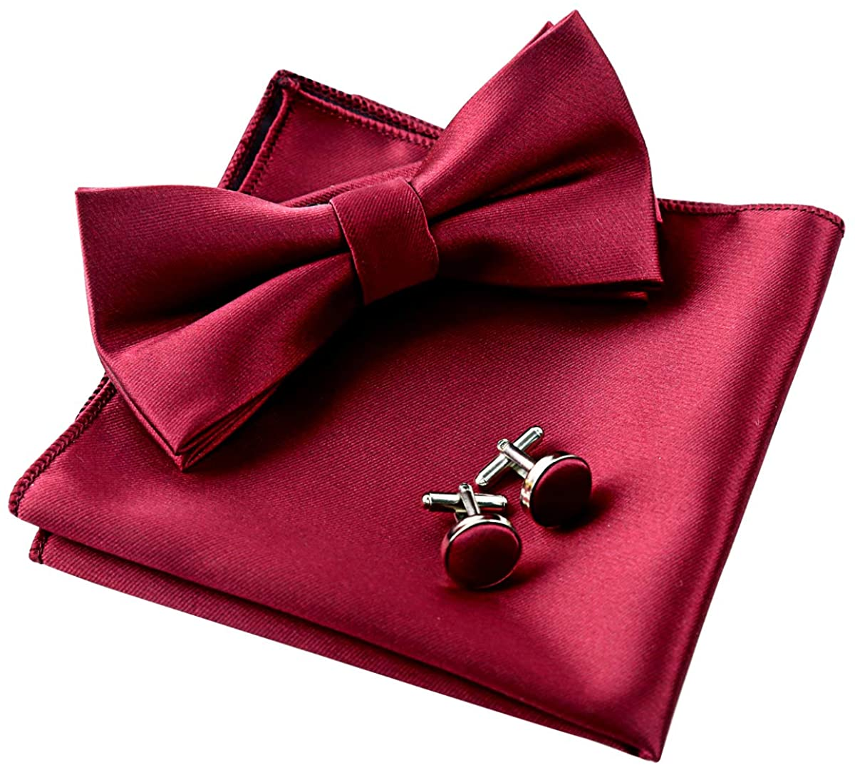 Alizeal Mens Tuxedo Bow Tie, Hanky and Cufflinks Set