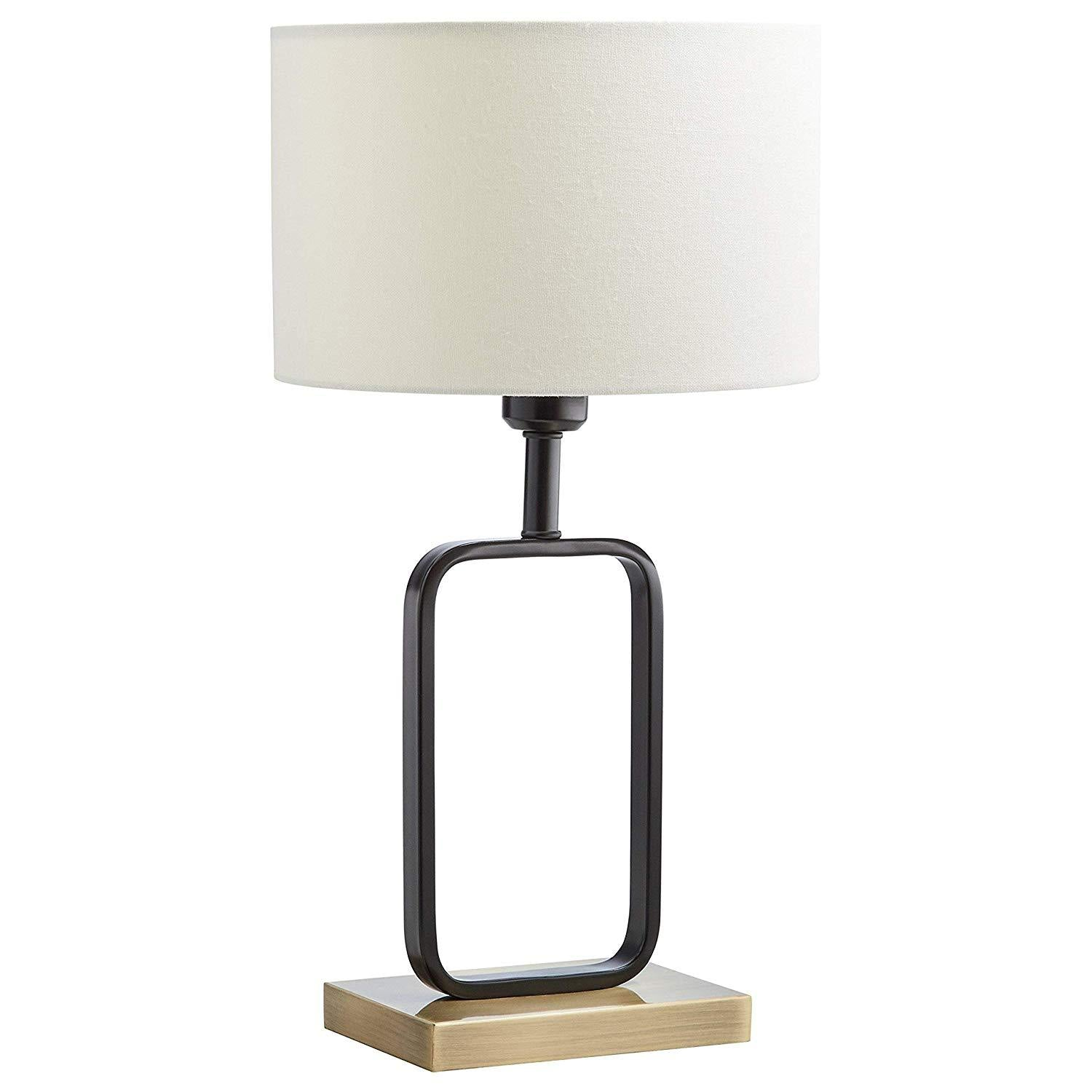 Stone & Beam Modern Metal Frame Living Room Table Lamp With Light Bulb - 7.5 x 5 x 20.5 Inches, Black with White Shade