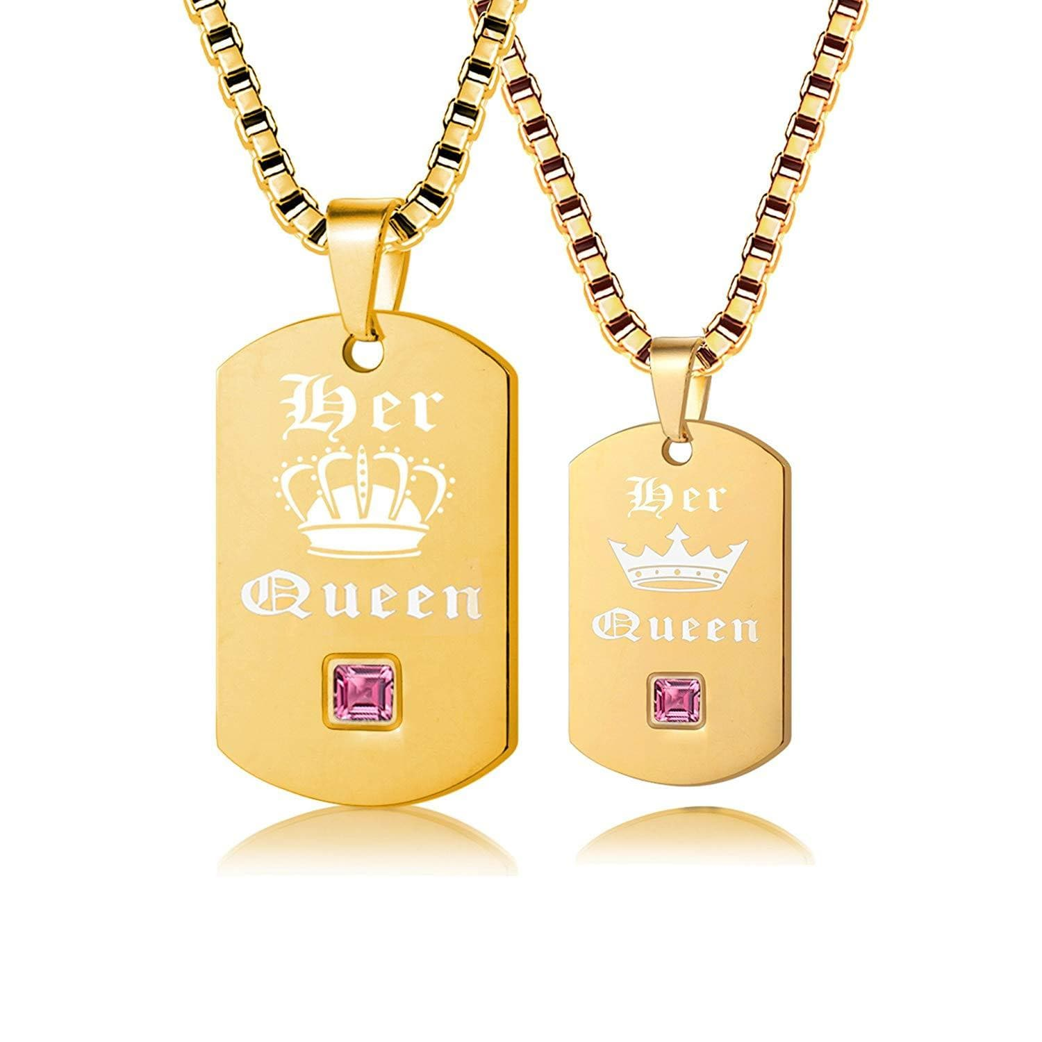 Uloveido 2 pc Gay or Lesbian Pride Dog Tag Titanium Necklaces Set His King Her Queen SN125 (Black, Gold)