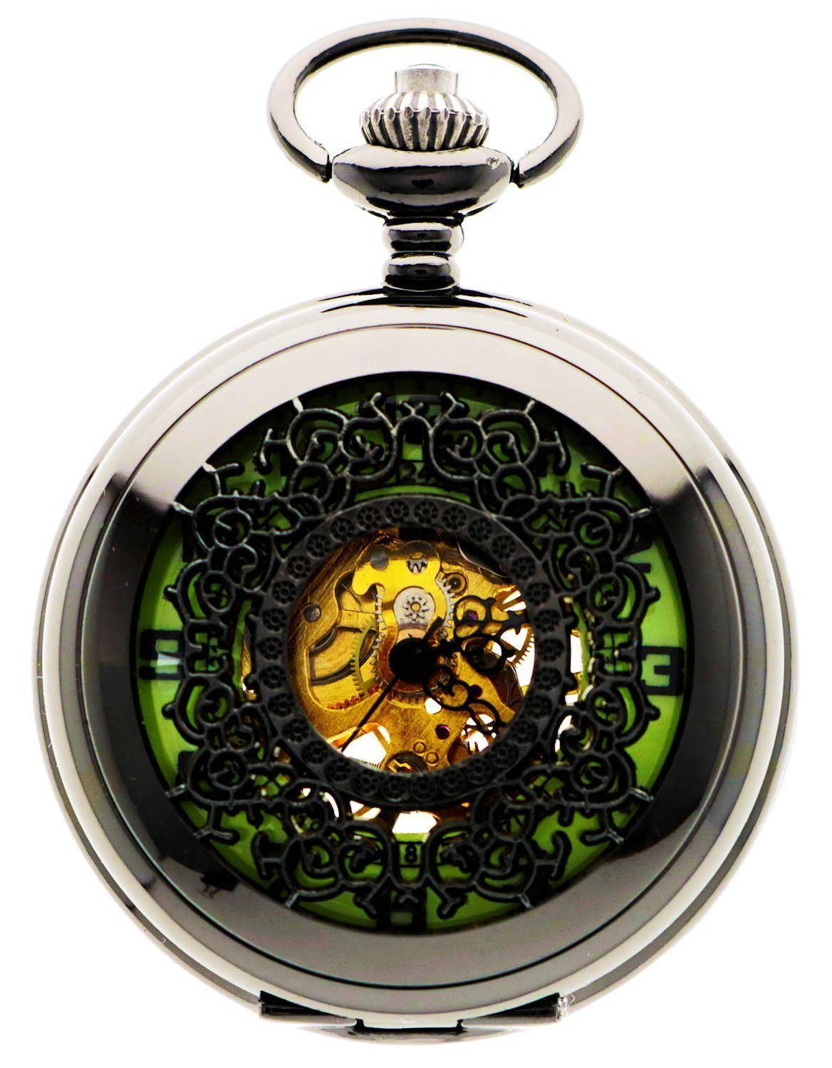 Old-fashioned Mechanical Pocket Watch & Chain with Roman Numerals (no Batteries @ Sons of Odin™ -