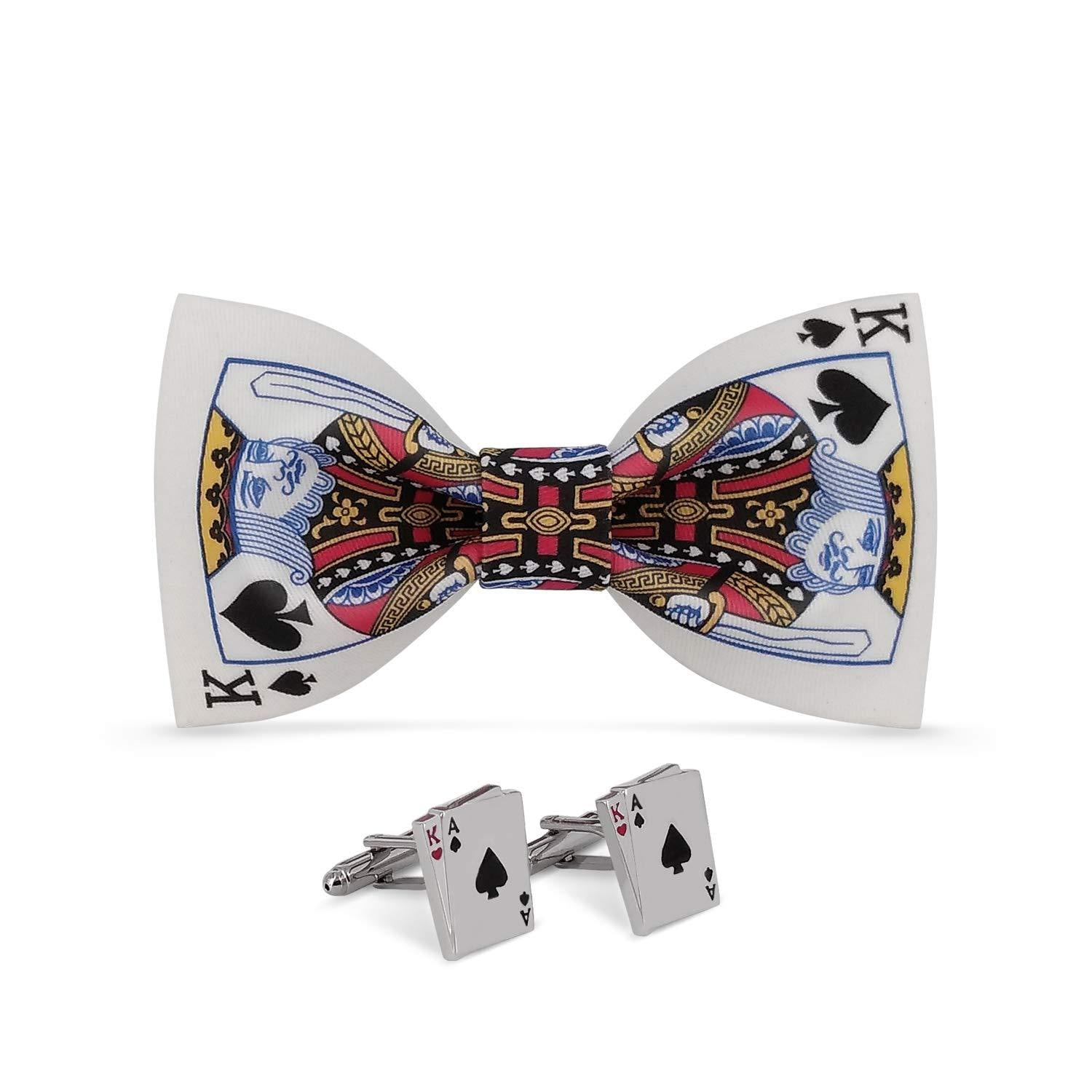 Lanzonia Men's King of Spades Poker Pattern Bowtie and Cufflinks Bow Tie Set