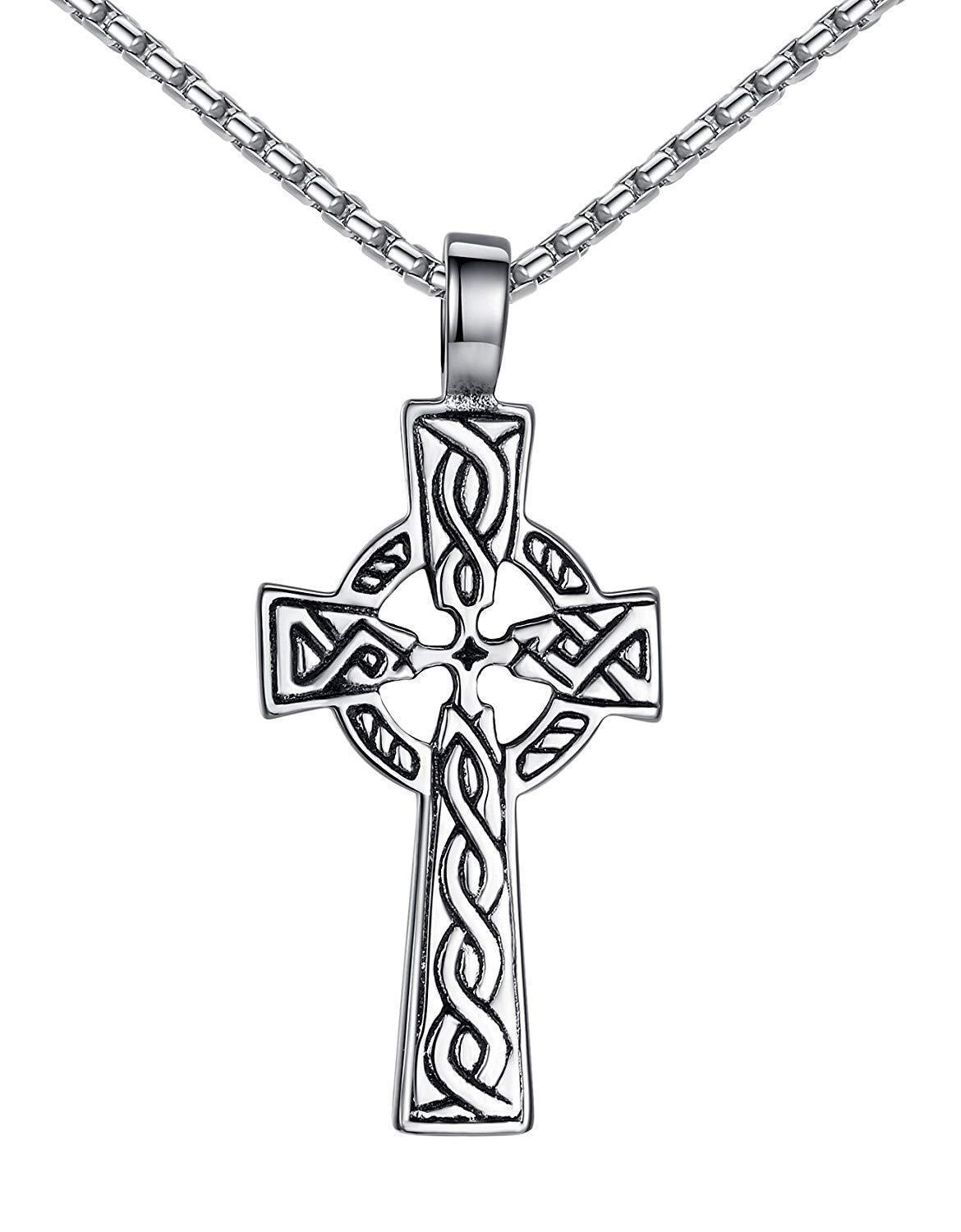 "Aoiy Stainless Steel Celtic Cross Irish Knot Pendant Necklace, Unisex, 21"" Link Chain, aap152"