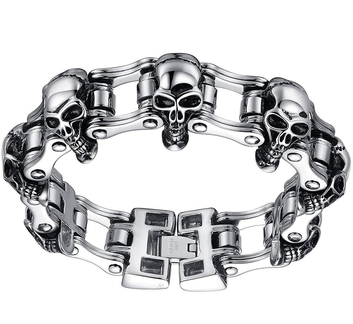 Aoiy Men's Stainless Steel Gothic Skull Bicycle Chain Large and Heavy Biker Bracelet
