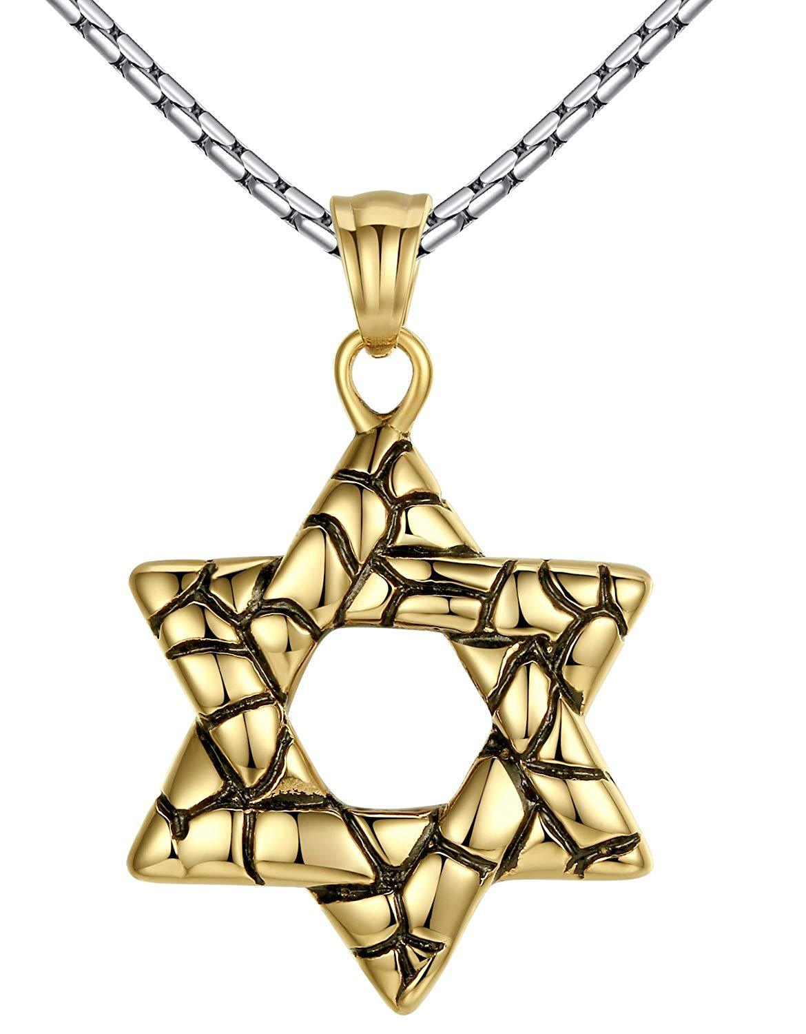 "Aoiy Men's Stainless Steel Star of David Pendant Necklace, 23"" Link Chain, hhp021ji"