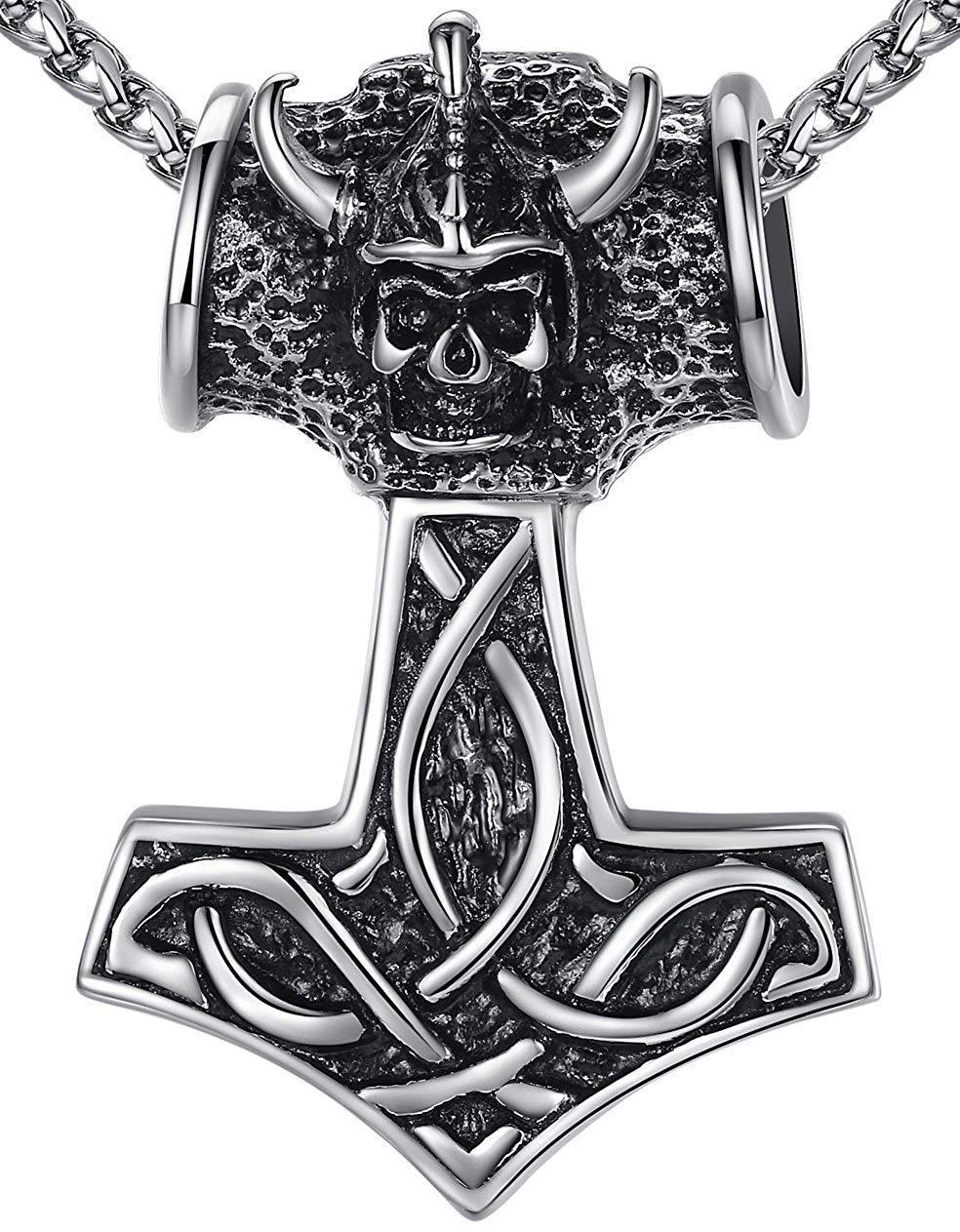"Men's Stainless Steel Large Heavy Celtic Knot Viking Thor's Hammer Pendant Necklace, 24"", aap101"
