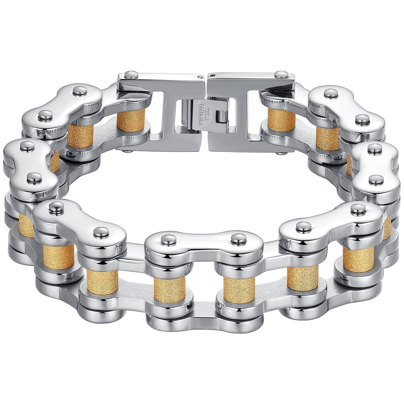 Aoiy Men's Stainless Steel Large and Heavy Biker Bicycle Chain Bracelet (Silver-Gold-Color)