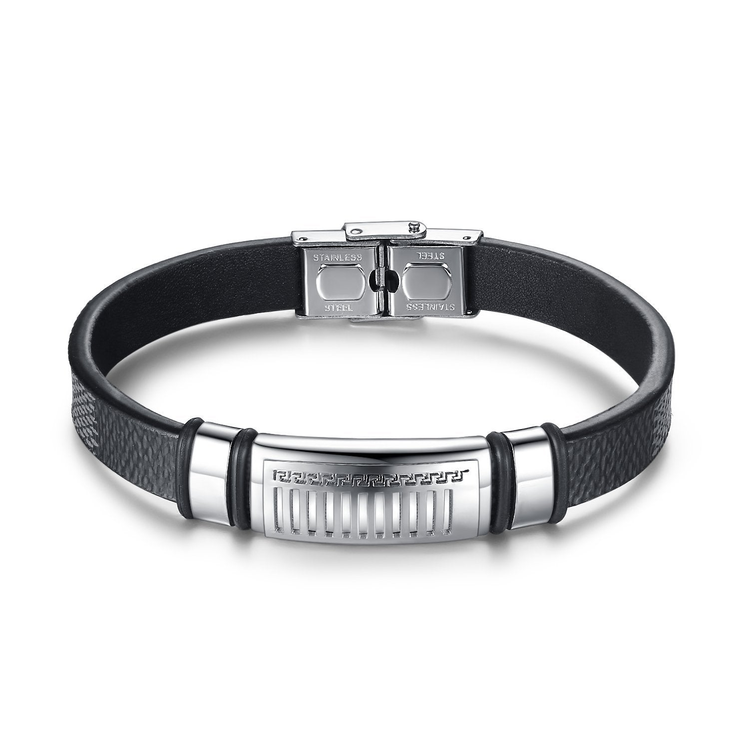 Aoiy Men's Stainless Steel Greek Key and Black Leather Bracelet, ggb014wu