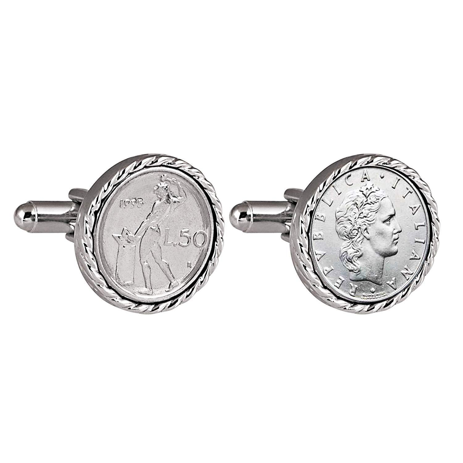 Italian 50 Lire Cuff Links | Genuine Lira Coins | Silvertone Rope Bezel | Bullet Backs | Men's Formal Wear Cufflinks