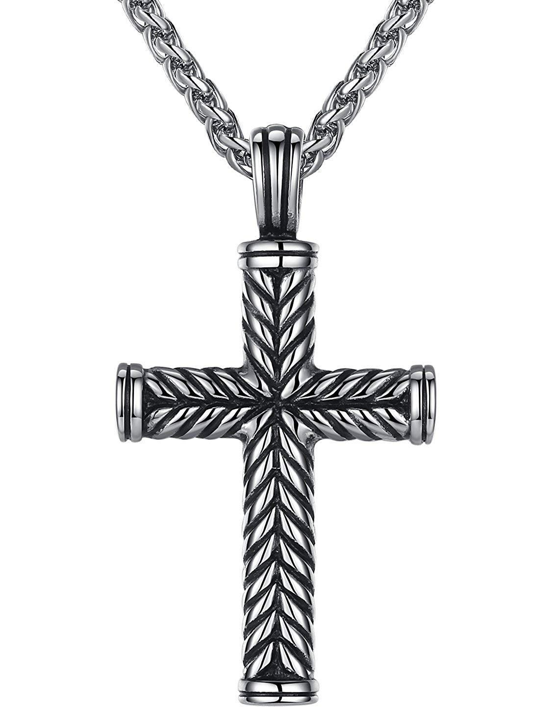 "Aoiy Men's Stainless Steel Religious Large Cross Pendant Necklace, 24"" Link Chain, hhp003yi"