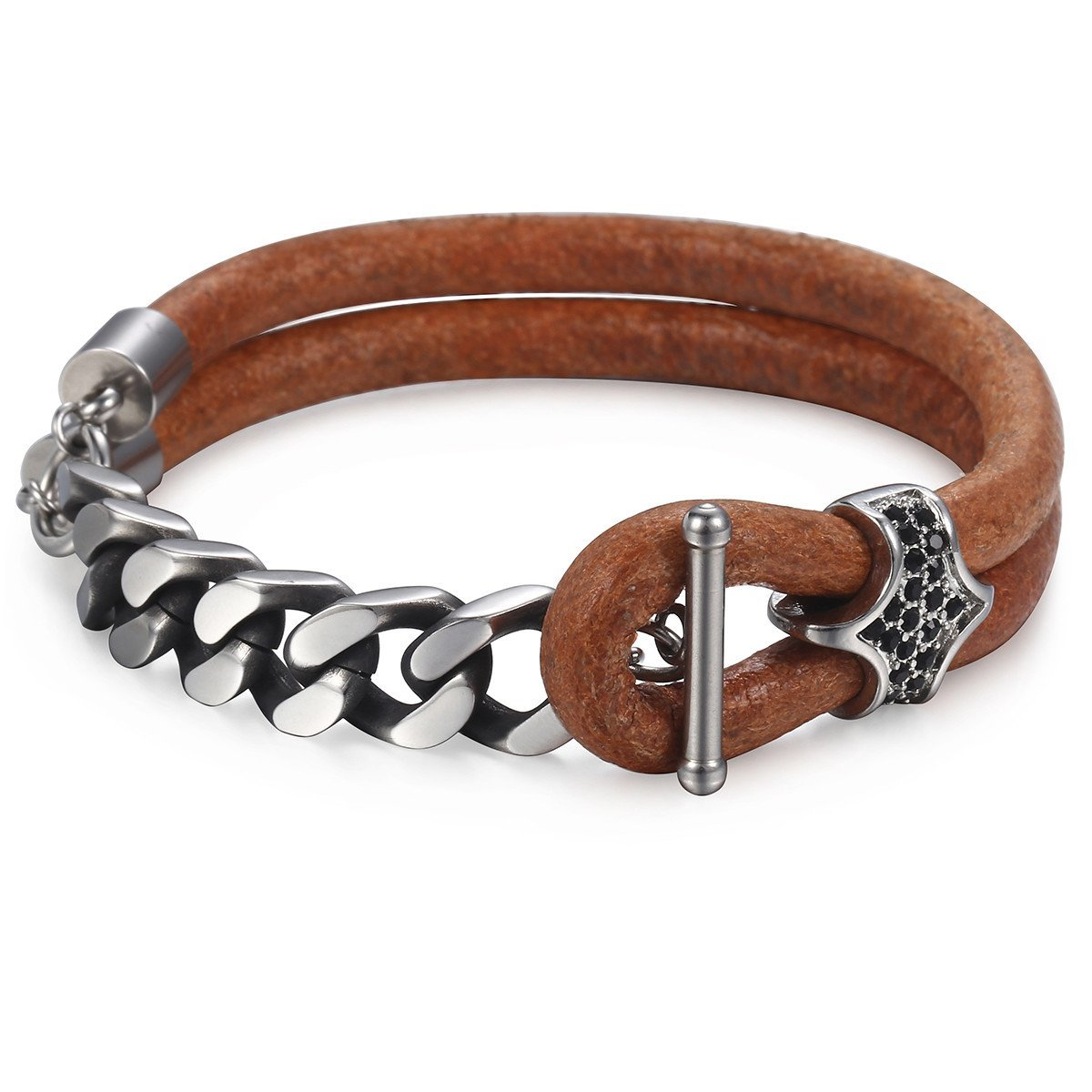 Trendsmax Men's Leather Bracelet Black CZ Charm Stainless Steel Cuban Link Chain Bracelet Gifts for Men 8inch