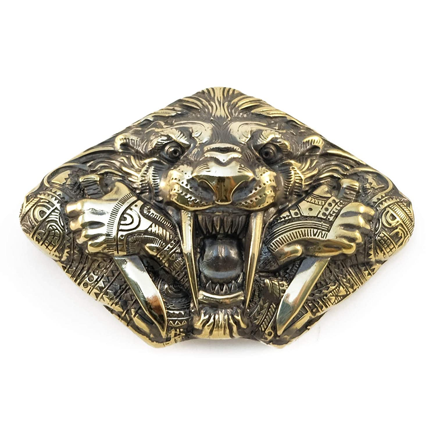 Belt buckle Steel fangs, Handmade wild animal tiger solid brass belt buckle
