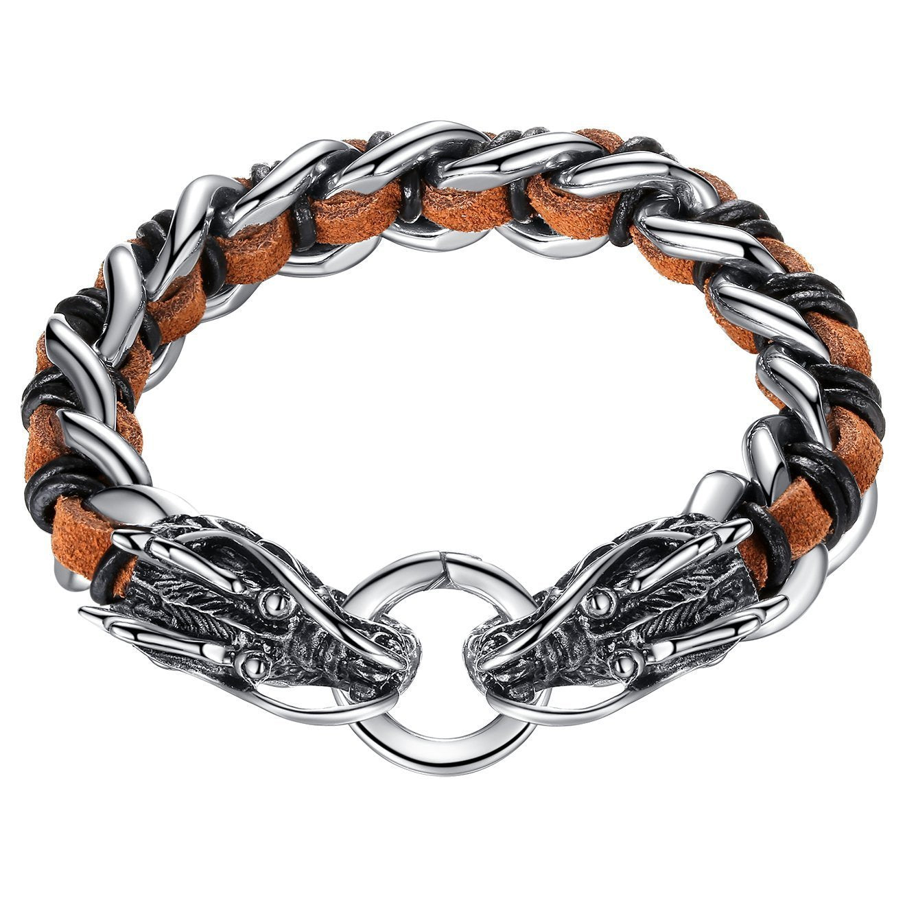 "Men's Stainless Steel and Leather Double Dragon Large and Heavy Biker Bracelet, 9.1"", ccb003"