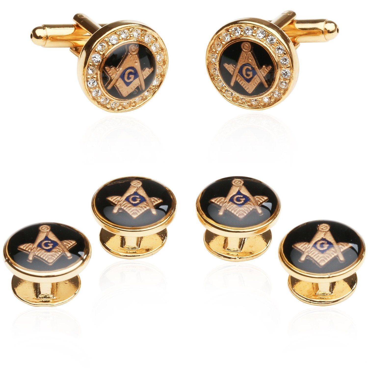 Cuff-Daddy Mens Freemason Crystal Gold Tone Masonic Formal Set Cufflinks and Studs with Presentation Box