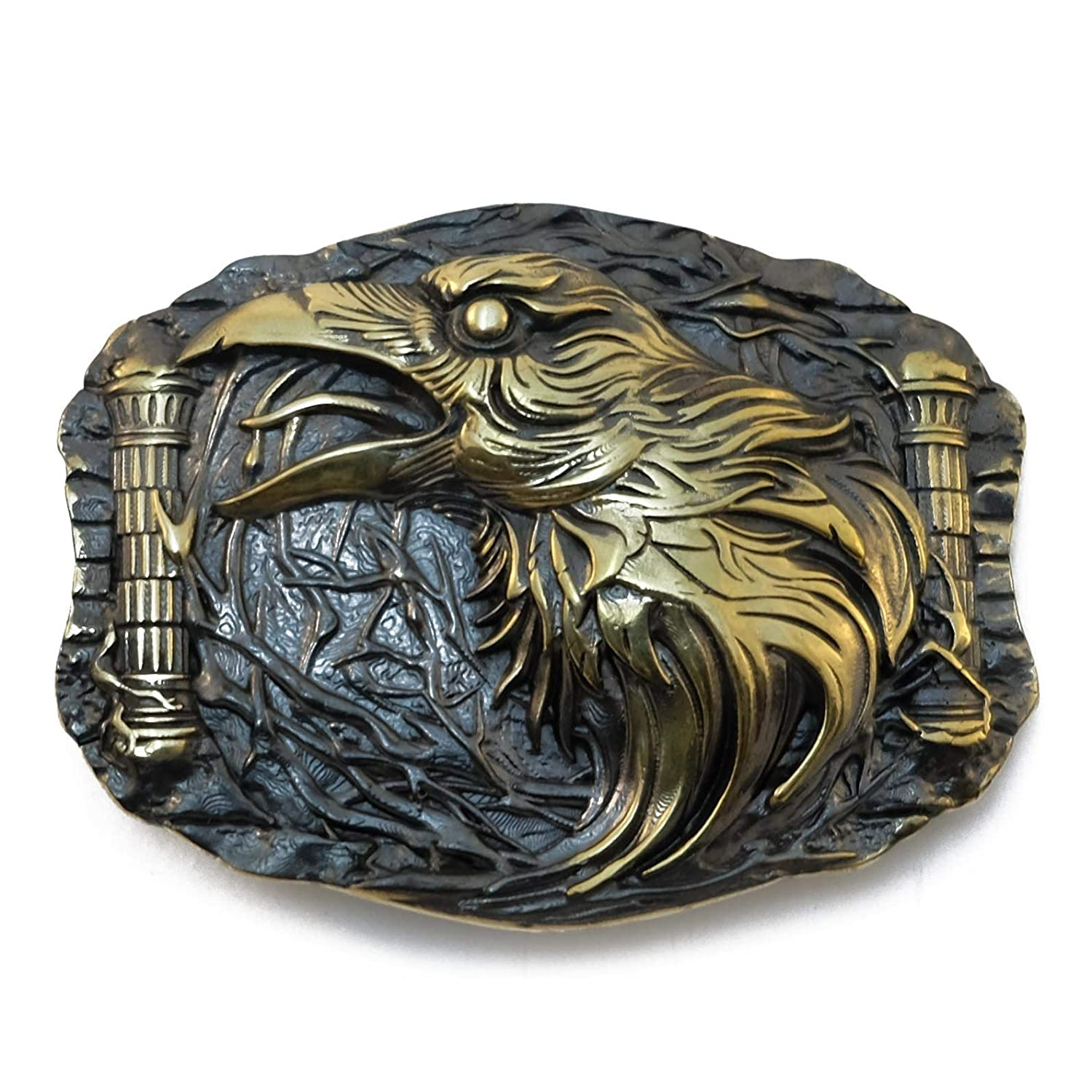 Belt buckle Odins Raven, Handmade viking Huggin And Munnin ravens solid brass belt buckle
