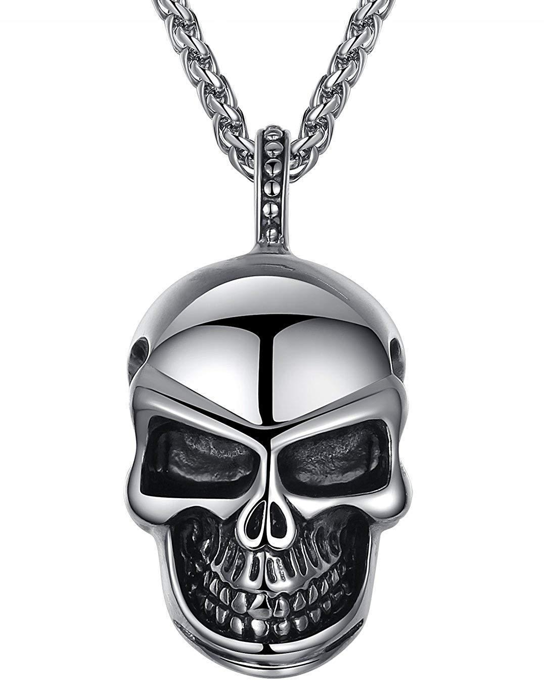 Aoiy Men's Stainless Steel Gothic Skull Biker Pendant Necklace 24 Link Chain @ Sons of Odin™ -